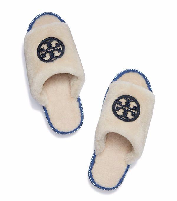Tory Burch Shearling Logo Slide