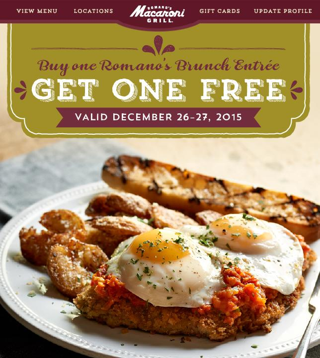 Buy 1, Get 2nd Free Brunch Entree at Macaroni Grill