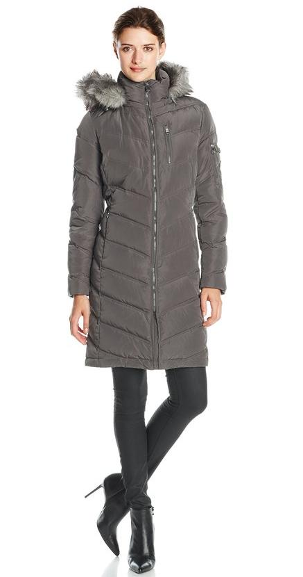 Calvin Klein Women's Mid-Length Chevron Down Coat @ Amazon