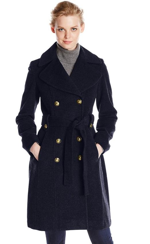 Anne Klein Women's Double-Breasted Wool-Blend Coat @ Amazon