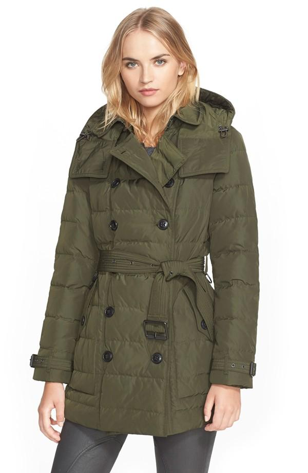 Burberry Brit 'Mid Allerdale' Belted Quilted Down Coat with Detachable Hood