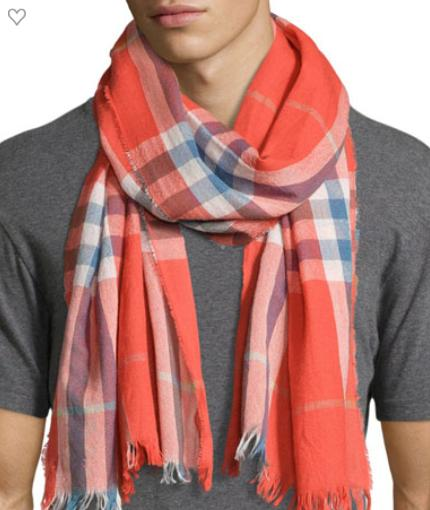 Burberry Cashmere-Wool Crinkle Scarf, Orange @ Neiman Marcus