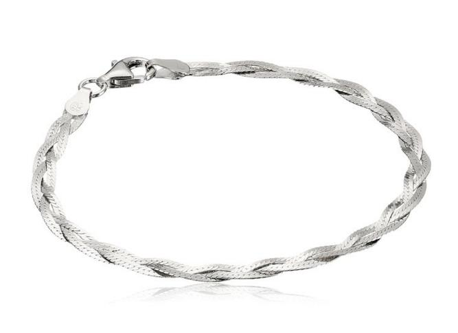 Italian Sterling Silver Three-Strand Braided Herringbone Chain Bracelet, 7.5
