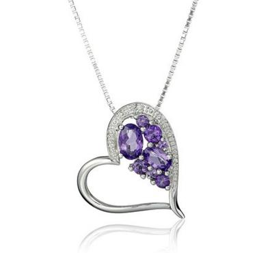 Sterling Silver Diamond Accent and Shades of Amethyst Heart Pendant Necklace, 18