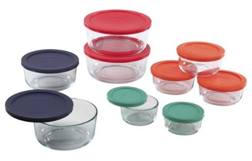 $17.99 Pyrex 1110141 18pc Glass Food Storage with Multi-colored Lids
