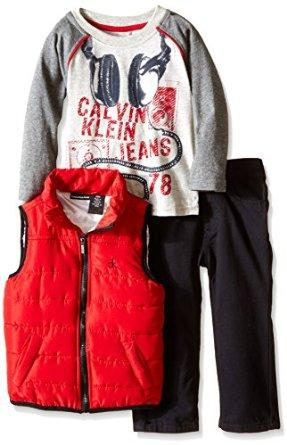 Calvin Klein Baby Boys' Red Puffy Vest with Tee and Pants