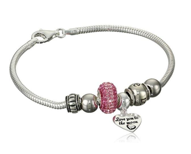 """$44.99 Lightning deal: CHARMED BEADS Sterling Silver """"Love You to The Moon"""" Bead Bracelet"""