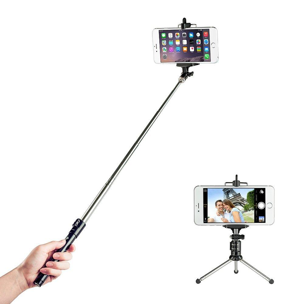 TaoTronics Extendable Carbone Handled Selfie Stick + Wireless Bluetooth remote Tripod