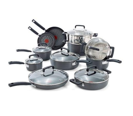 T-fal C770SI Signature Hard Anodized Nonstick Thermo-Spot Heat Indicator Cookware Set, 18-Piece, Gray