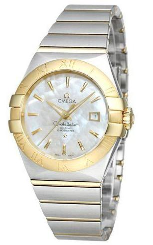 OMEGA Constellation Chronometer Mother of Pearl Dial Steel and 18kt Yellow Gold Ladies Watch 123.20.31.20.05.002