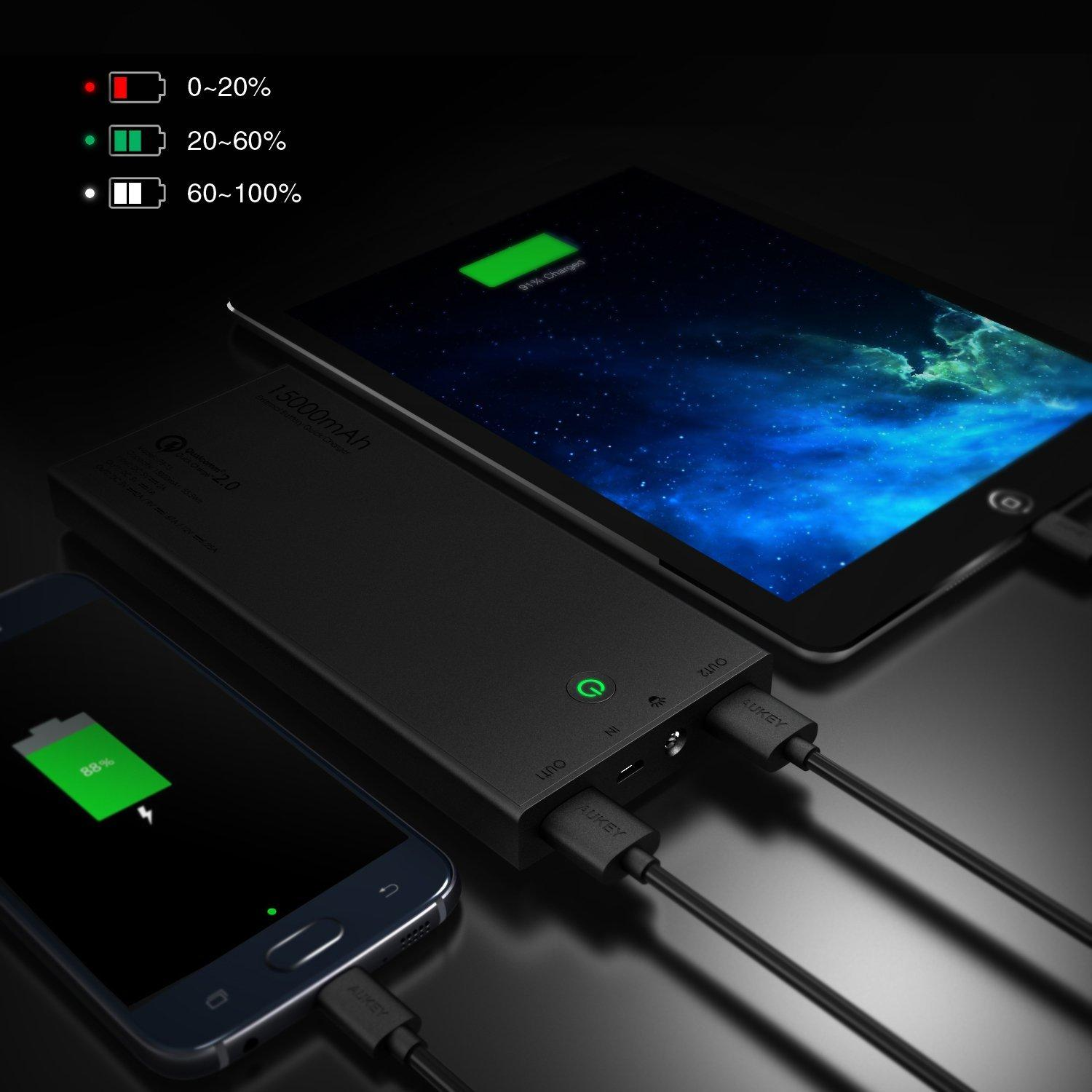 Aukey 15000mAh Portable External Battery Power Bank Fast Charger with Qualcomm Quick Charge 2.0