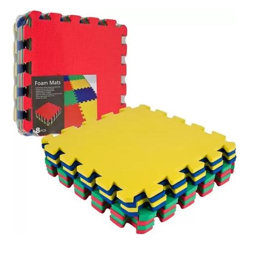 Trademark 8 Piece Multi-Color EVA Foam Exercise Mats