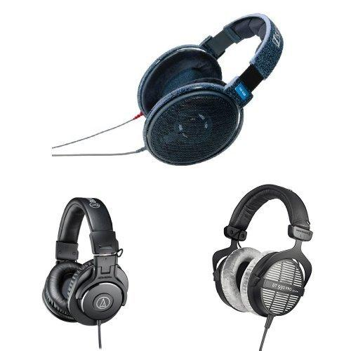 Sennheiser HD600 with Audio-Technica M30X and Beyerdynamic DT990 Pro