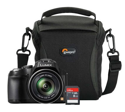 Panasonic LUMIX DMC-FZ70KA 16.1-Megapixel Bridge Camera + Camera Bag + Memory Card