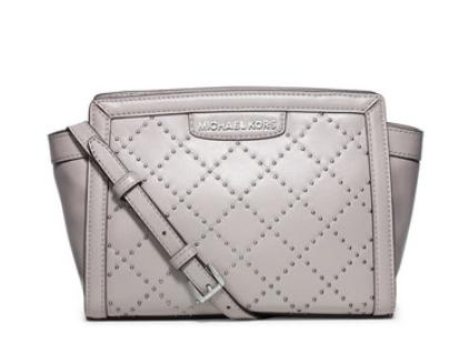 MICHAEL Michael Kors  Selma Quilted Micro-Stud Medium Messenger Bag, Pearl Gray