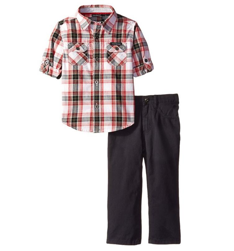 Calvin Klein Little Boys' Orange Woven Plaid Shirt with Pants Toddler