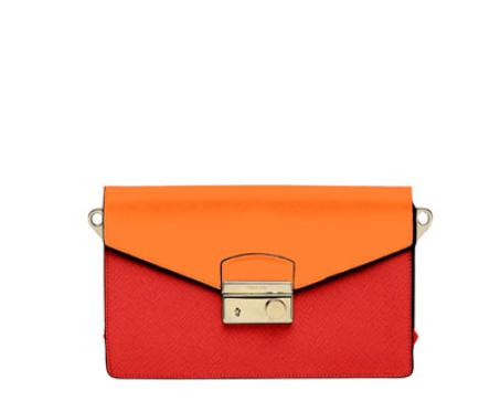 Prada Saffiano Bi-Color Sound Bag, Red/Orange (Fuoco+Papaya) @ Neiman Marcus