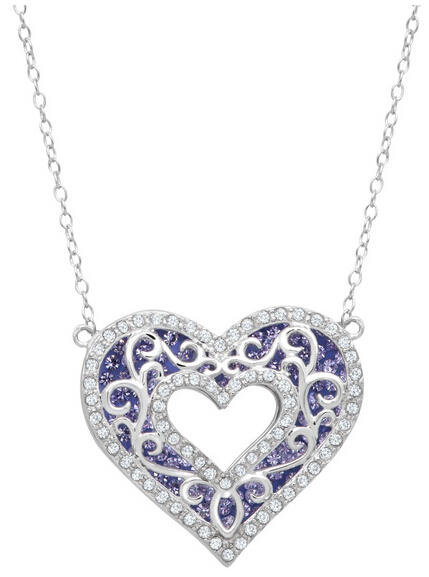 Layered Open Heart Necklace with Swarovski Crystals