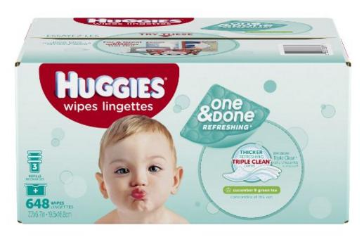 Huggies One & Done Refreshing Baby Wipes Refill, Cucumber and Green Tea, 648 Count @ Amazon