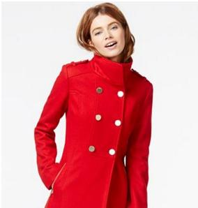 GUESS Double-Breasted Pleated Peacoat @ macys.com