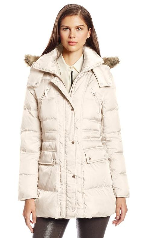 Kenneth Cole New York Women's Matte-Satin Down Coat @ Amazon