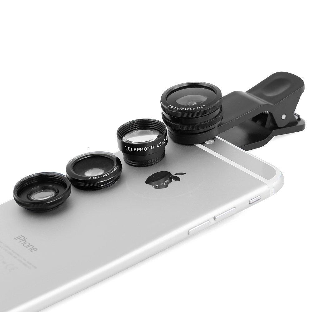 Apexel 4 in 1 Clip-On Camera Photo Kit For Cell Phones