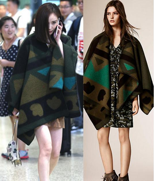 Burberry Brit Angular Patchwork Wool & Cashmere Poncho