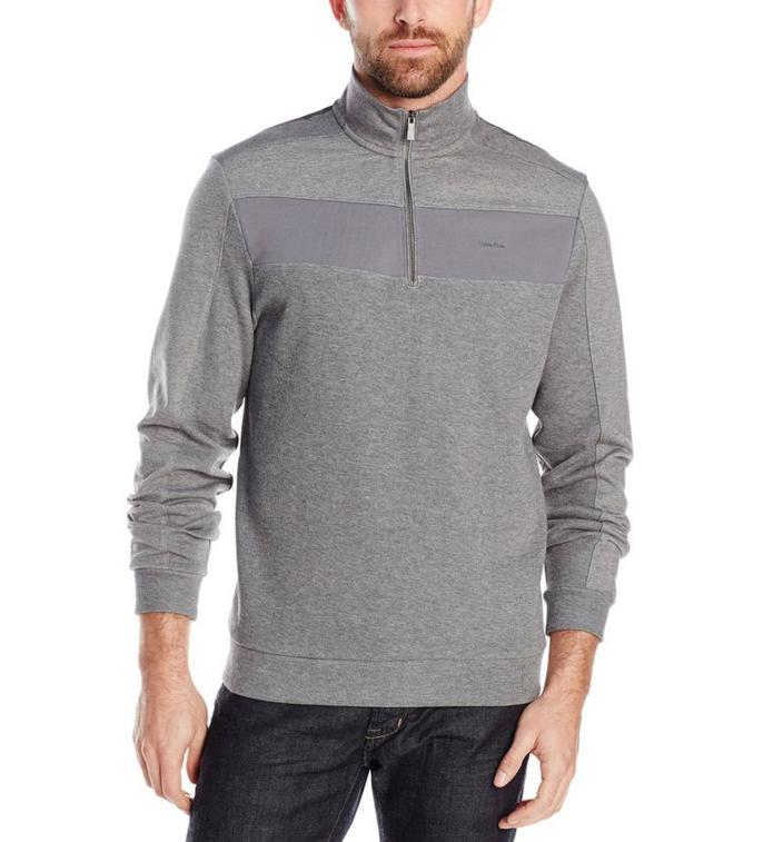 Calvin Klein Men's Color Blocked 1/4-Zip French Rib Pull Over Sweatshirt