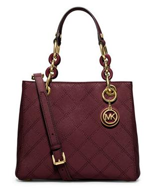 Michael Kors Cynthia Small North-South Quilted Satchel Bag, Merlot