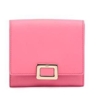$100 Gift Card With Regular Price Purchased Roger Vivier  Mini Buckle Square Wallet, Bubblegum Pink @ Neiman Marcus