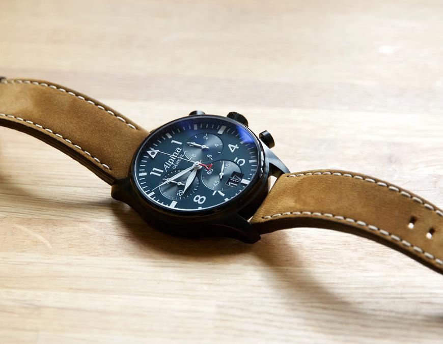 Alpina Startimer Pilot Chronograph Blue Dial Brown Leather Men's Watch AL-372N4FBS6