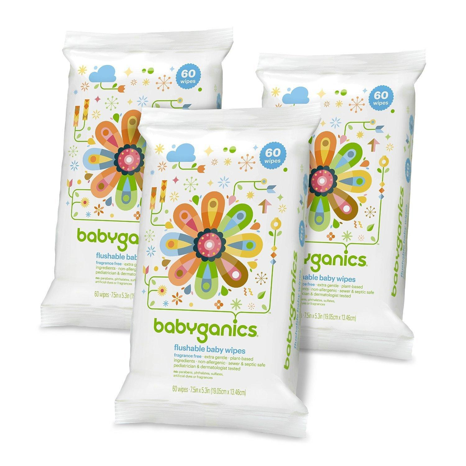 Babyganics Flushable Baby Wipes, Fragrance Free, 60 Count (Pack of 3, 180 Total Wipes)