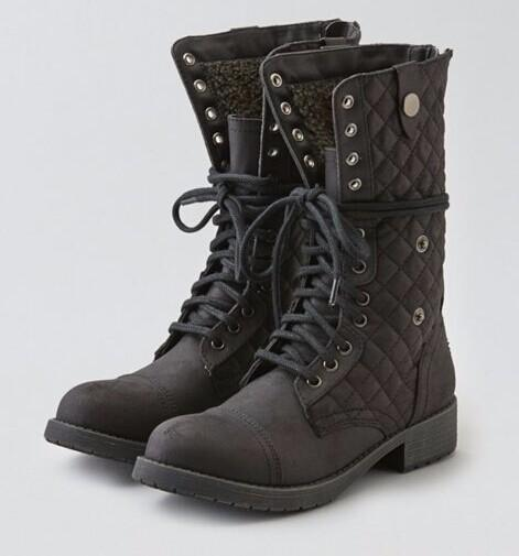 AEO LACE-UP QUILTED BOOT @ American Eagle