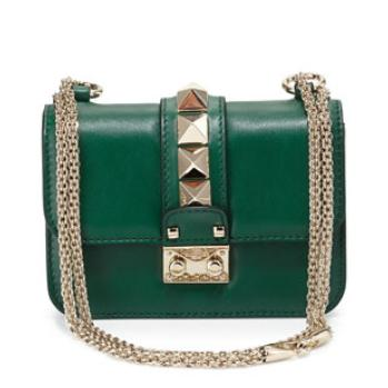 Valentino Lock Micro Mini Shoulder Bag, Green @ Neiman Marcus