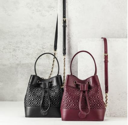 Tory Burch Marion Quilted Mini Bucket Bag, Red Agate @ Neiman Marcus