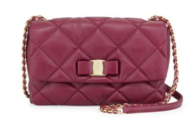 Salvatore Ferragamo Gelly Vara Soft Quilted Shoulder Bag, Vin