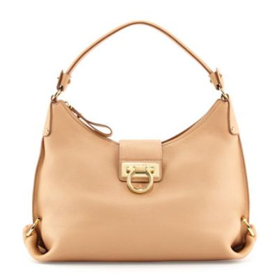 Salvatore Ferragamo  Fanisa Pebbled Gancini Hobo Bag, Sable @ Neiman Marcus
