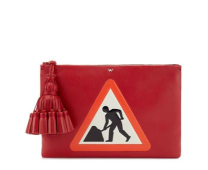 Anya Hindmarch Georgiana Men at Work Clutch Bag, Dark Orange @ Neiman Marcus