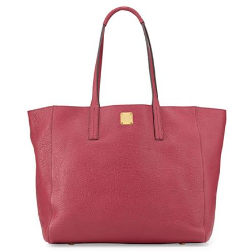 MCM Shopper Project Reversible Leather Tote Bag, Scooter Red/Gold @ Neiman Marcus
