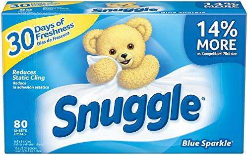 $3.76 Snuggle Fabric Softener Dryer Sheets, Blue Sparkle, 80 Count