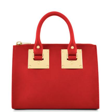 Sophie Hulme  Leather Crossbody Bowling Bag, Red @ Neiman Marcus