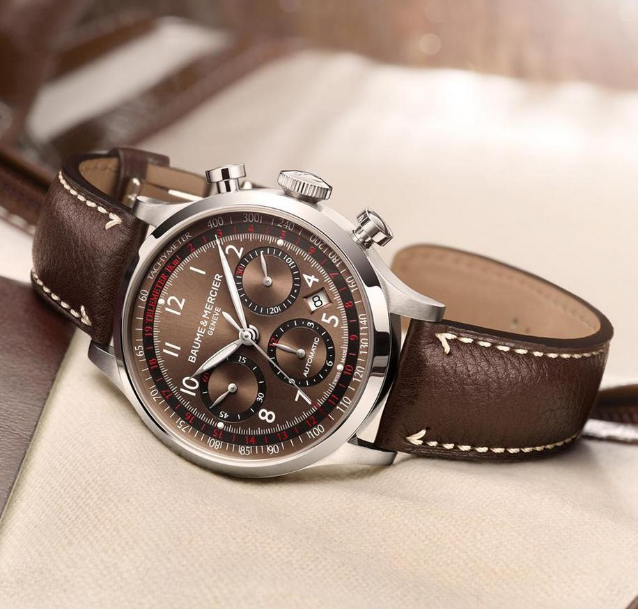$1195 Baume and Mercier Capeland Brown Dial Chronograph Men's Watch 10083