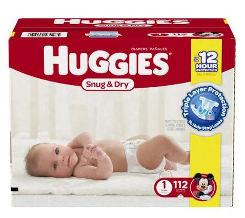 $14.98 Huggies Snug and Dry Diapers, Size 1, 112 Count