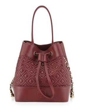 Tory Burch Marion Quilted Mini Bucket Bag, Red Agate