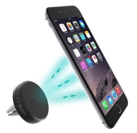 Car Mount, Aukey Reinforced Magnetic Cradle-less Car Air Vent Mount Smartphone Holder Cradle for iPhone 6, 6S, Samsung S6, Android Cellphones and More