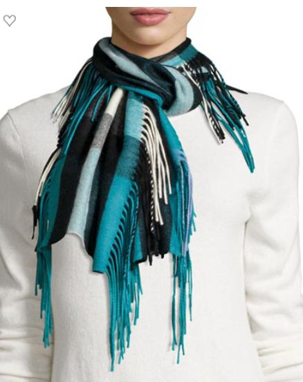 Burberry Prorsum The Fringe Cashmere Half Mega-Check Scarf, Teal @ Neiman Marcus