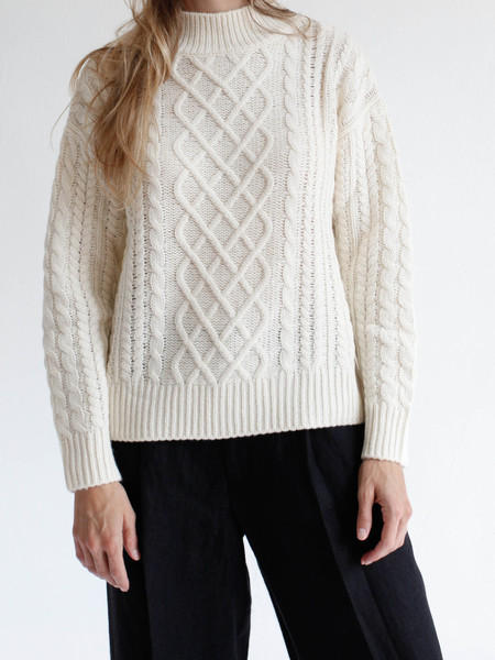 FRAME Long-Sleeve Cable Sweater, Calico @ Neiman Marcus