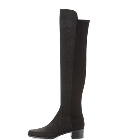 Stuart Weitzman  Reserve Pindot Over-the-Knee Boot, Black (Made to Order) @ Bergdorf Goodman