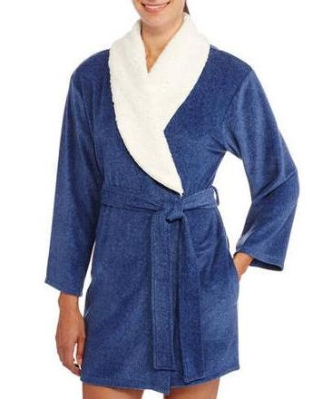 I Appel Women's Shawl Collar Sherpa Lined Stretch Fleece Robe @ Walmart