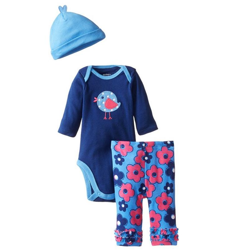 Gerber Baby Girls' Three-Piece Set with Bodysuit, Cap, and Pant